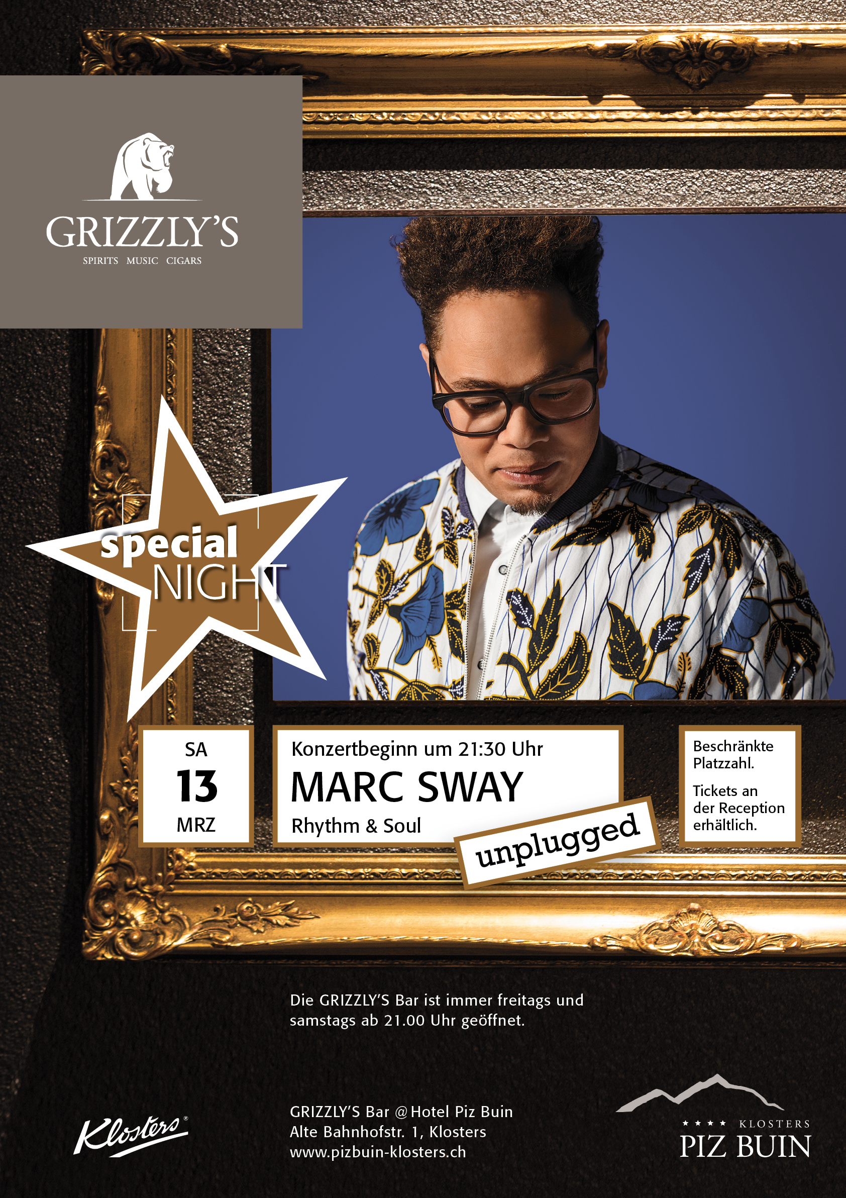 Plakat Marc Sway Grizzly's Bar Hotel Piz Buin Klosters by uniik.com