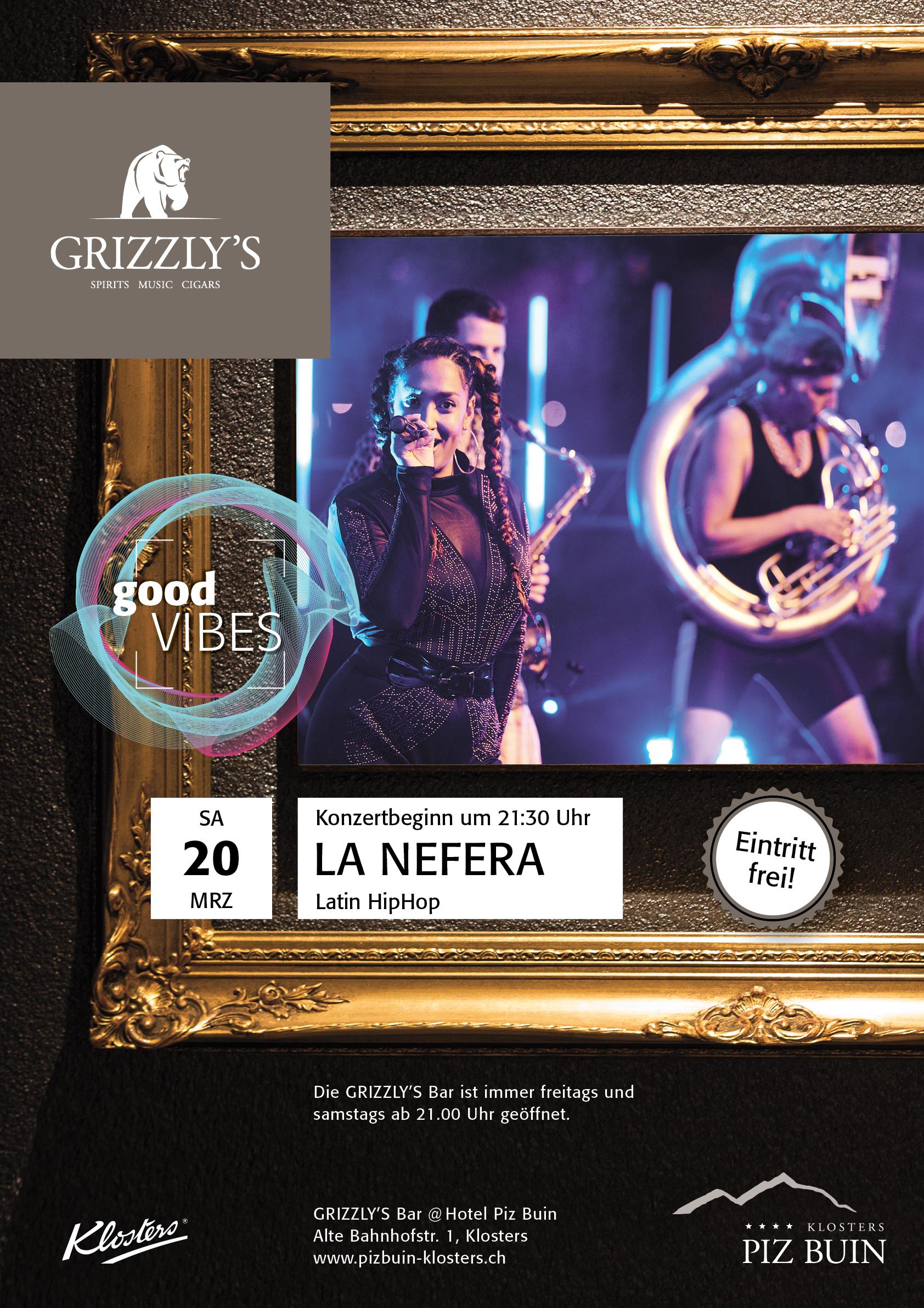 Plakat La Nefera Grizzly's Bar Hotel Piz Buin Klosters by uniik.com