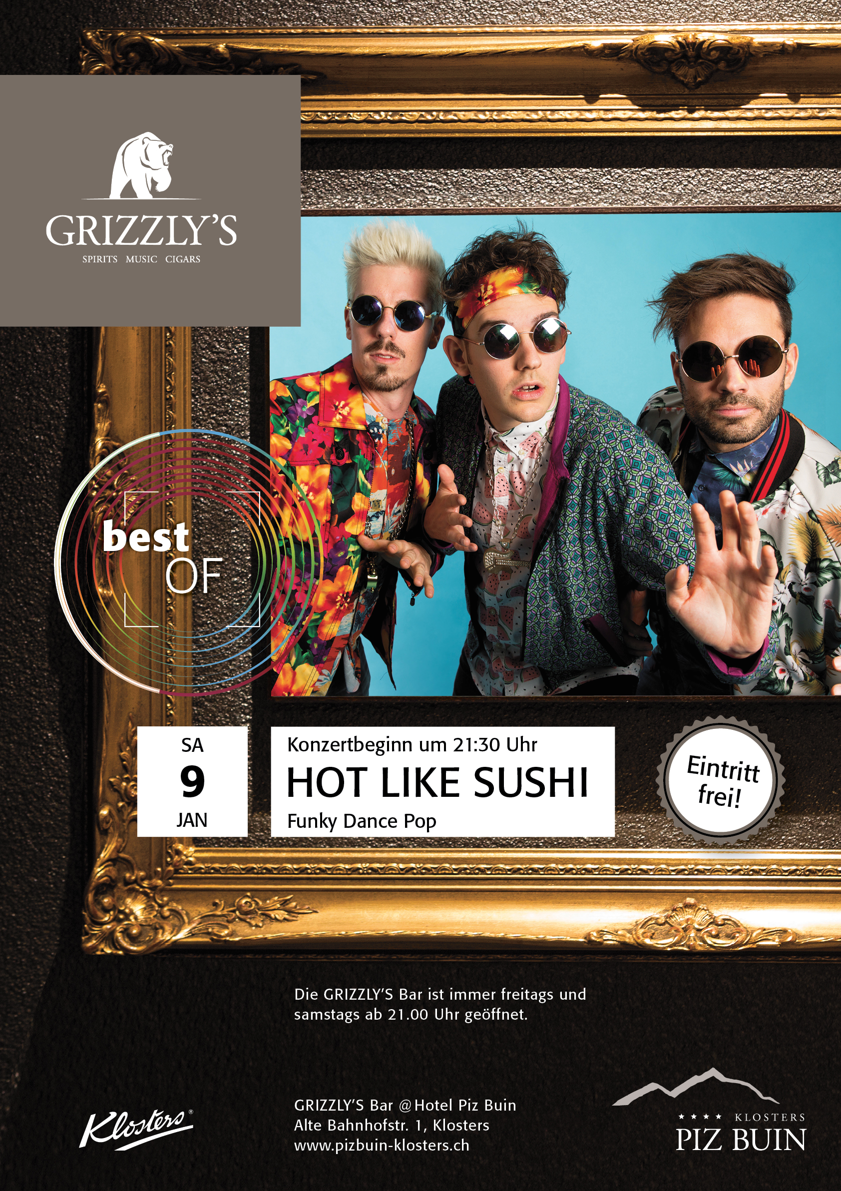 Plakat Hot Like Sushe Grizzly's Bar Hotel Piz Buin Klosters by uniik.com