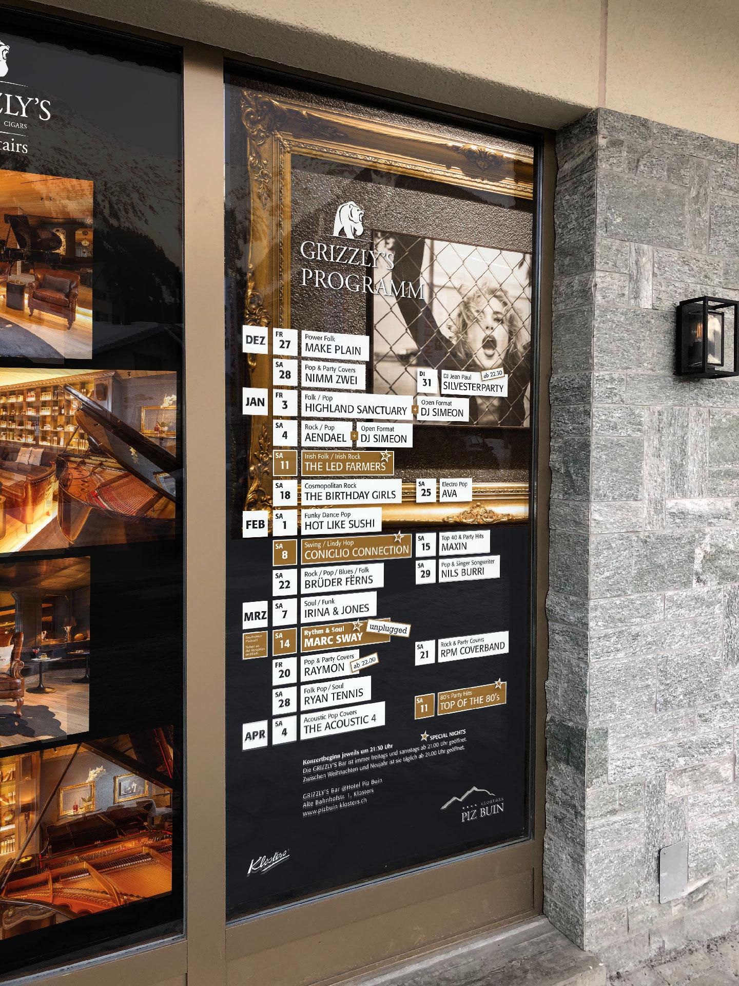 Konzertplakat Grizzly's Bar Hotel Piz Buin Klosters by uniik.com